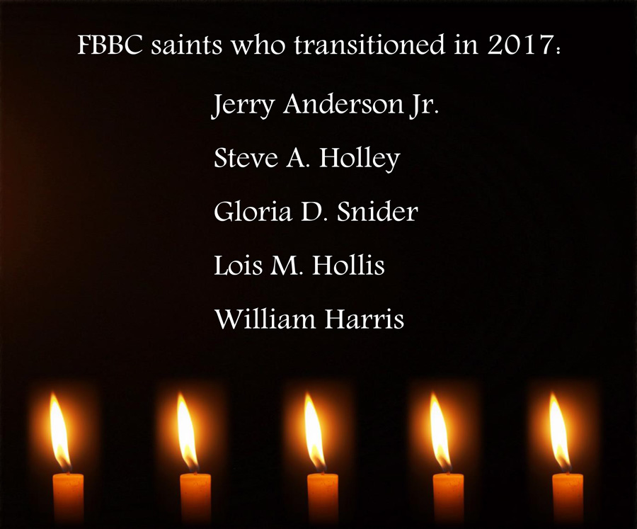 FBBC saints who transitioned in 2017: